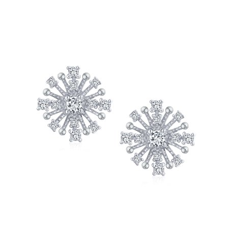 Trendy Fashion Geometric Cubic Zirconia CZ Spray Star Cluster Stud Earrings For Women 925 Sterling Silver - image 1 of 2