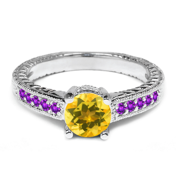 0.32 Ct Round Yellow Citrine Purple Amethyst 925 Sterling Silver Engagement Ring