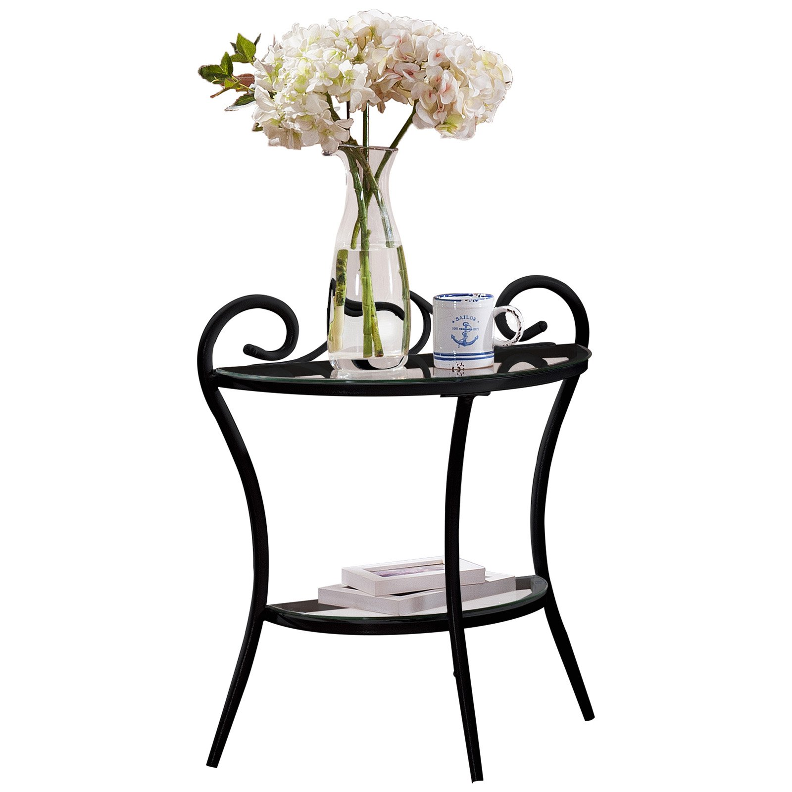 K&B Furniture Black Metal and Glass End Table