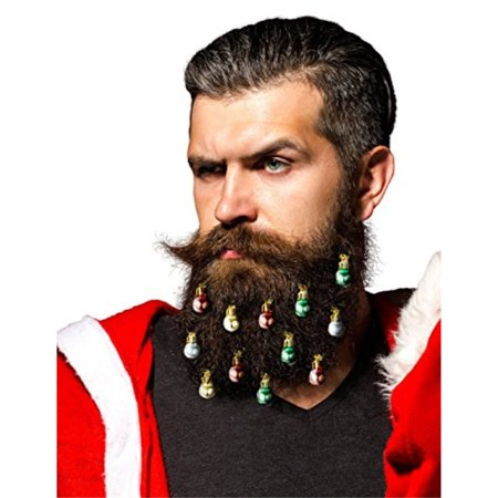Viking Ornaments (Beardaments - Beard Ornaments 12-pack (Red, Green, Gold,)