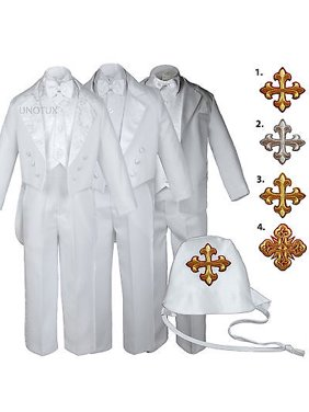 150a62ab8 Product Image White Baby Toddler Boys Easter Christening Baptism Formal  Tuxedo Suits Cross Hat