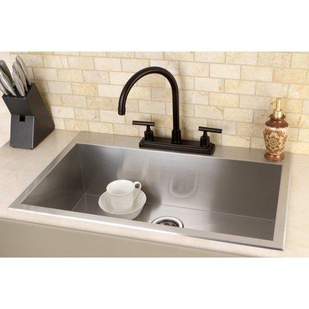 Kingston Brass Topmount 31.5-inch Single Bowl Stainless Steel Kitchen - Brass Single Bowl