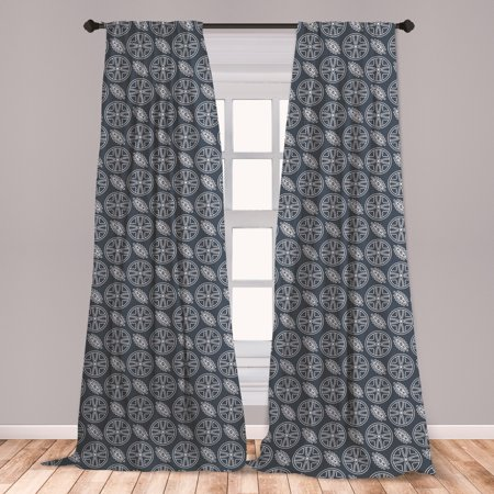 Japanese Curtains 2 Panels Set, Flower Petals in Circles with Ornate Leaves Abstract Eastern, Window Drapes for Living Room Bedroom, Charcoal Grey Dark Blue, by Ambesonne ()