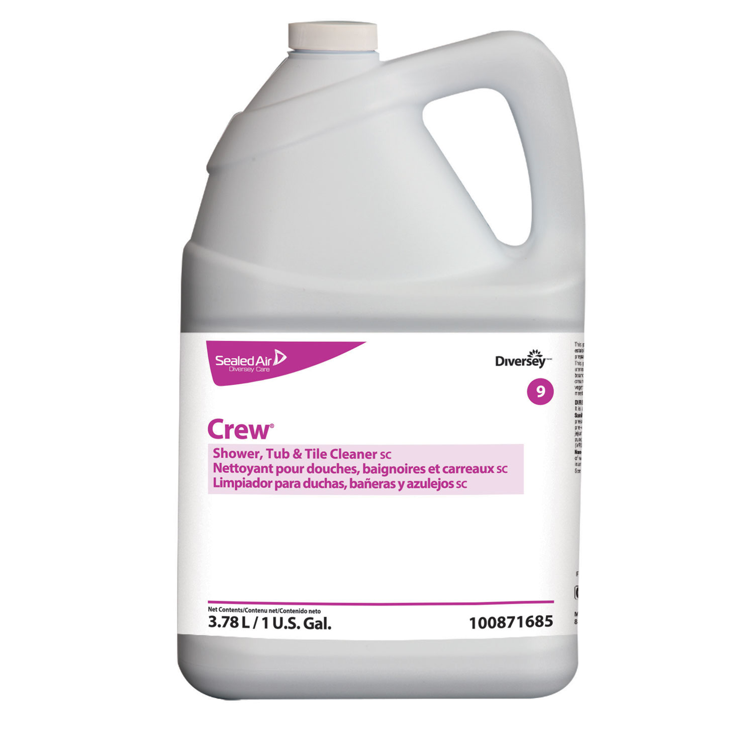 Crew Concentrated Shower/Tub/Tile Cleaner, Fresh Scent, 1 gal Bottle, 4/Carton