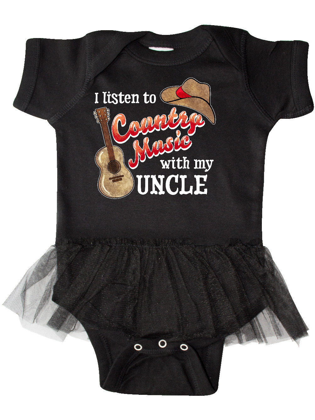 I Listen to Country Music With My Uncle Baby Vests Bodysuits for Boys Girls