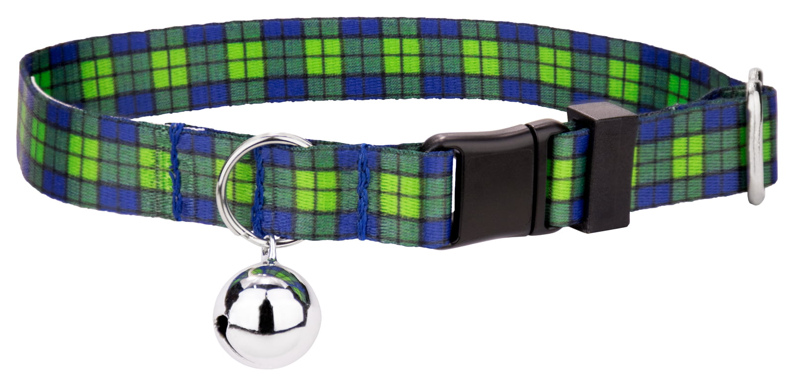 Country Brook Petz Blue and Green Plaid Cat Collar by Country Brook Design