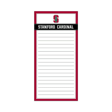 NCAA Stanford Cardinals Magnetic List Pad, 75 Lined Sheets Show your team spirit with this NCAA Stanford Cardinals Magnetic List Pad.  This list pad is the perfect place to jot down shopping lists, chore lists, recipes, and project notes.  The 3 inch magnetic strip on the backer helps keep the list pad secure and in place.