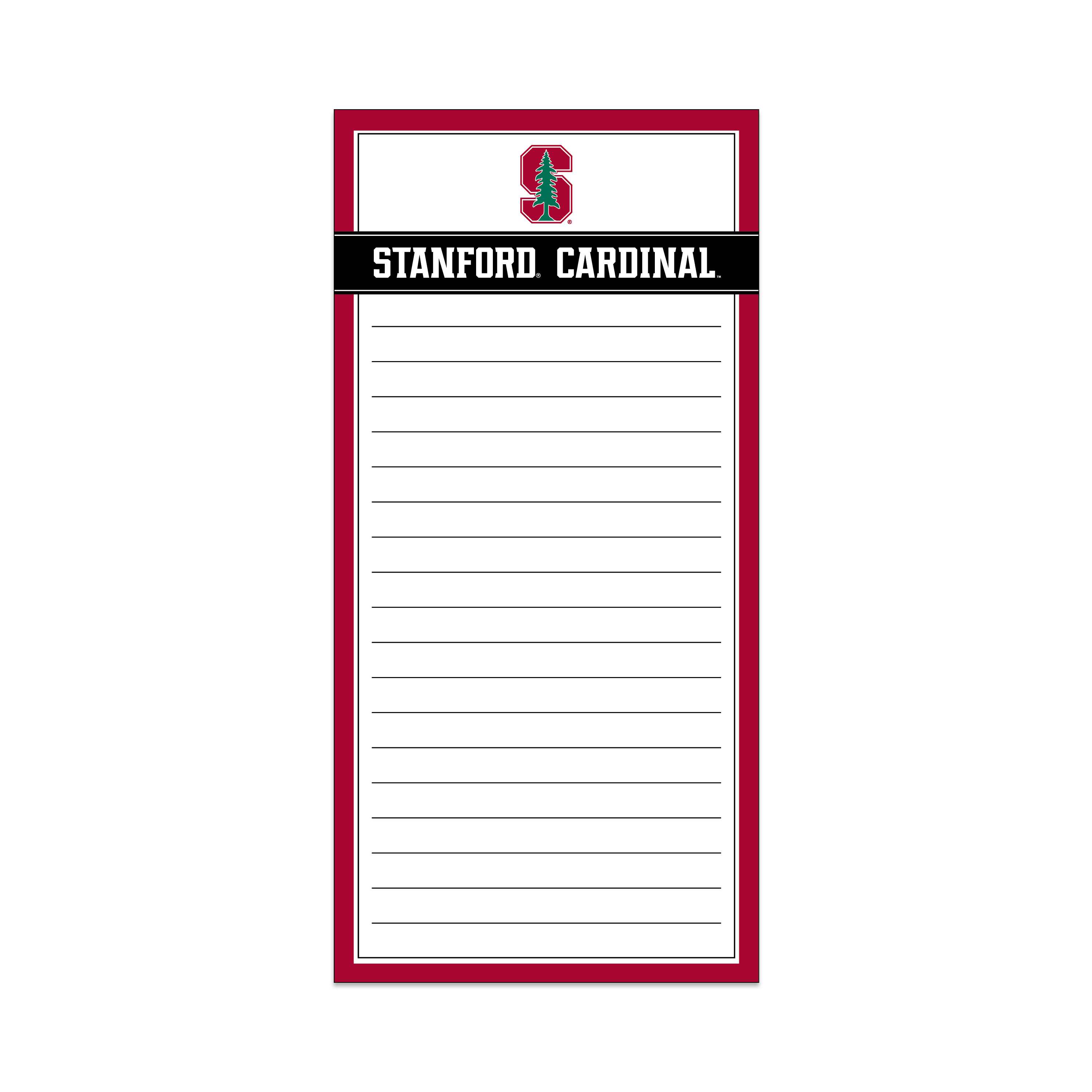 NCAA Stanford Cardinals Magnetic List Pad, 75 Lined Sheets