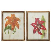 Winward Designs Amaryllis and Lily 2 Piece Framed Painting Print Set