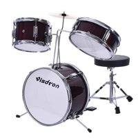 Children's Drums 33 cm 3PCS Teen Drum Set Metallic Red 13-Inch For 2-9 Years Old