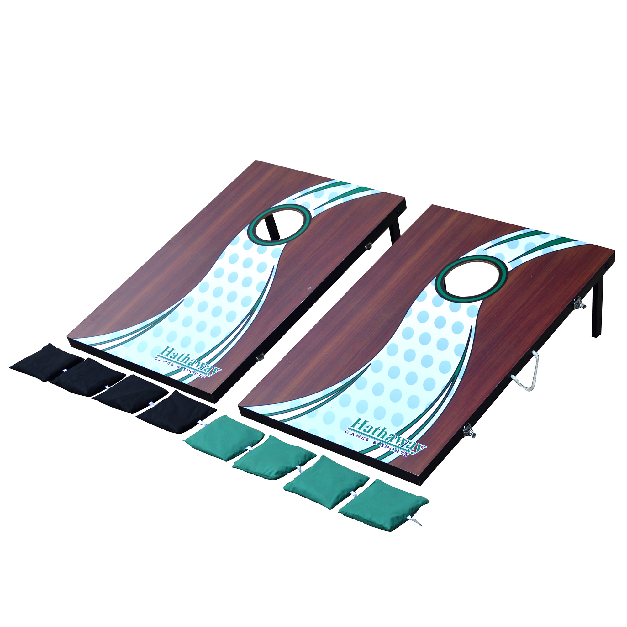 Hathaway Cornhole Beanbag Toss Game Set w 2 Target Boards & 8 Bags Multicolored by Blue Wave Products