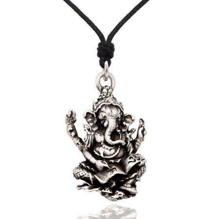 New Hindu Ganesh Elephant God Silver Pewter Charm Necklace Pendant Jewelry With Cotton Cord