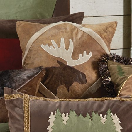 Shearling Diamond Moose Pillow - Rustic Bedding Linens