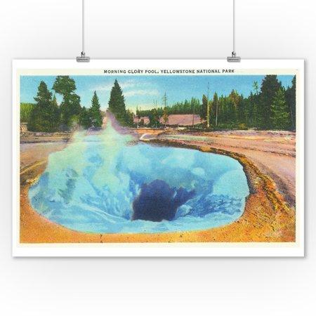 Yellowstone Nat'l Park, Wyoming - Morning Glory Pool View # 2 (9x12 Art Print, Wall Decor Travel Poster) ()