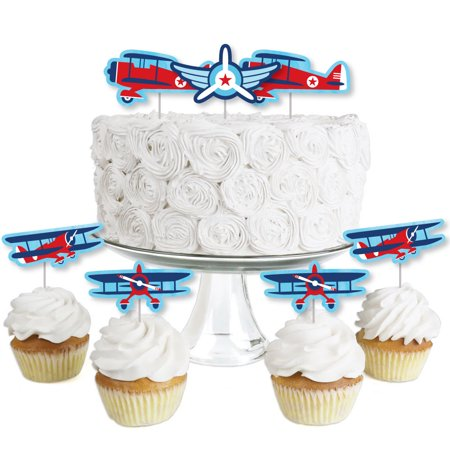 Halloween Party Desserts Treats (Taking Flight - Airplane - Dessert Cupcake Toppers - Vintage Plane Baby Shower or Birthday Party Clear Treat Picks-24)