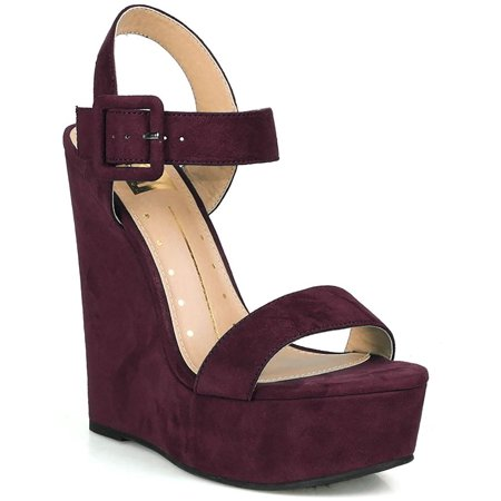 Purple Vegan Suede Open Toe Buckled Ankle Strap Platform Wedge