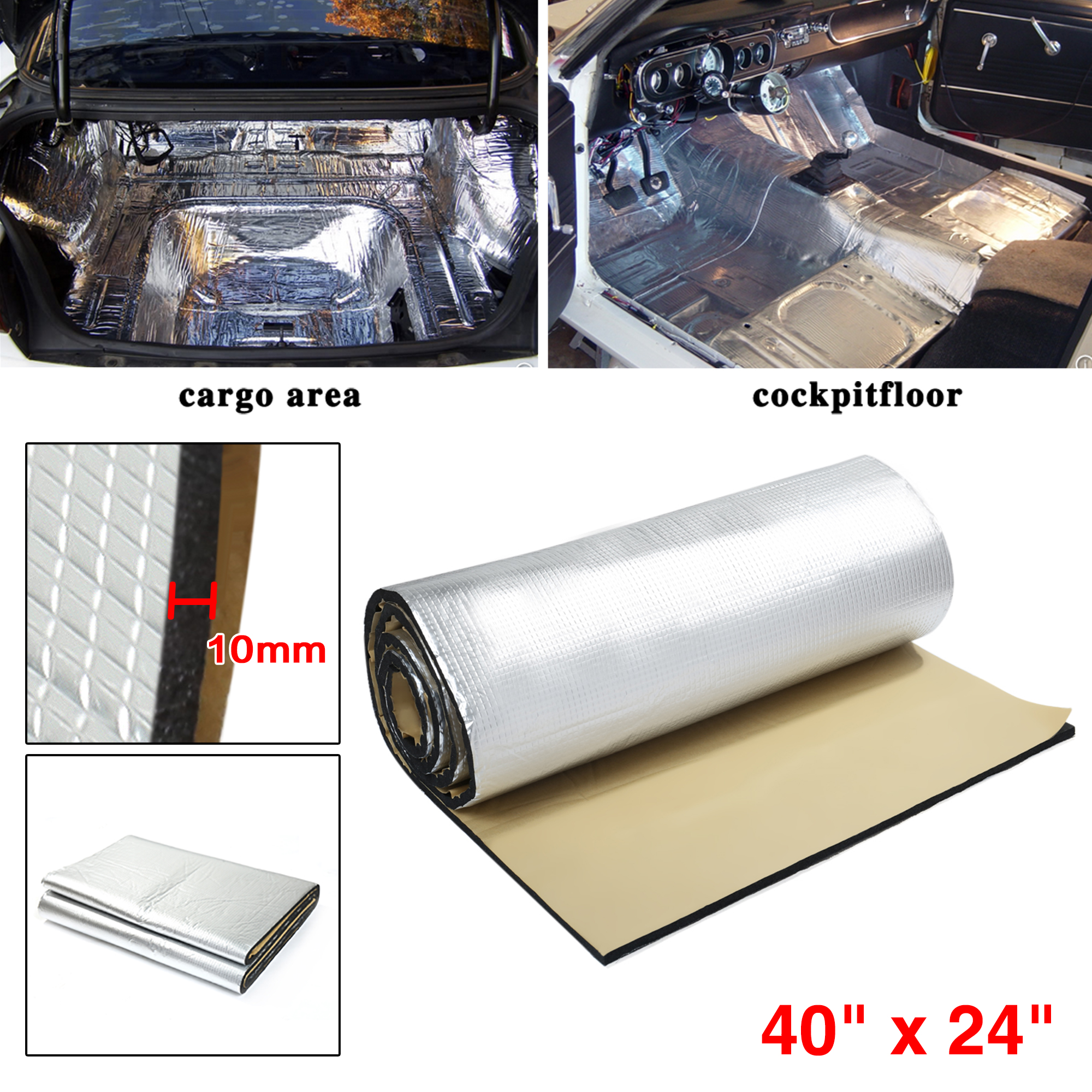 uxcell 197mil 5mm 53.35sqft Heat Sound Deadener Deadening Insulation Mat for Car 197x39inch