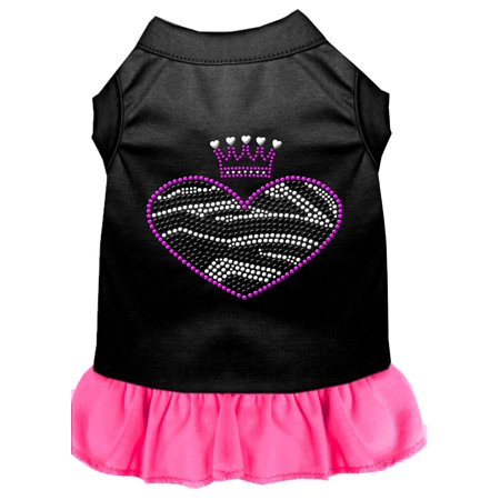 Zebra Heart Rhinestone Dress Black With Bright Pink Xxl (18)