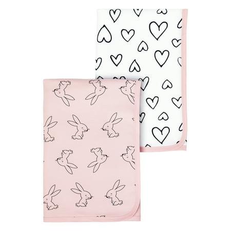 Little Star Organic 100% Pure Organic Cotton Interlock Receiving Blanket, 2 Pk, Pink-Modern Blush ()