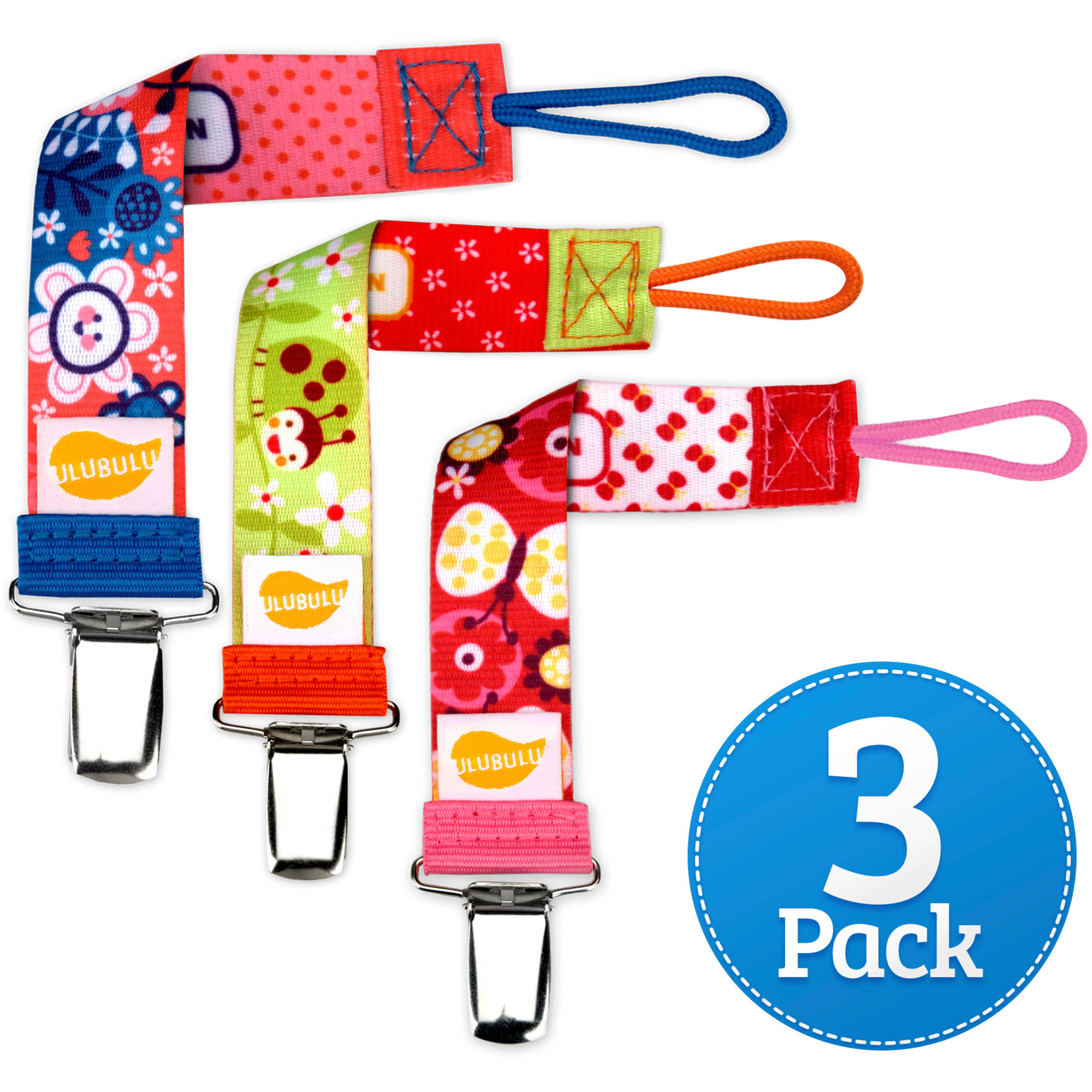Ulubulu Girls Garden Combo Pacifier Clip, 3-Pack