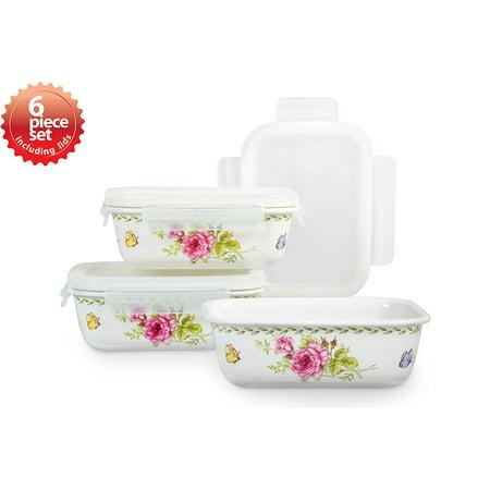 Ashley 31 Oz. Rectangular 3 Container Ceramic Food Storage Set