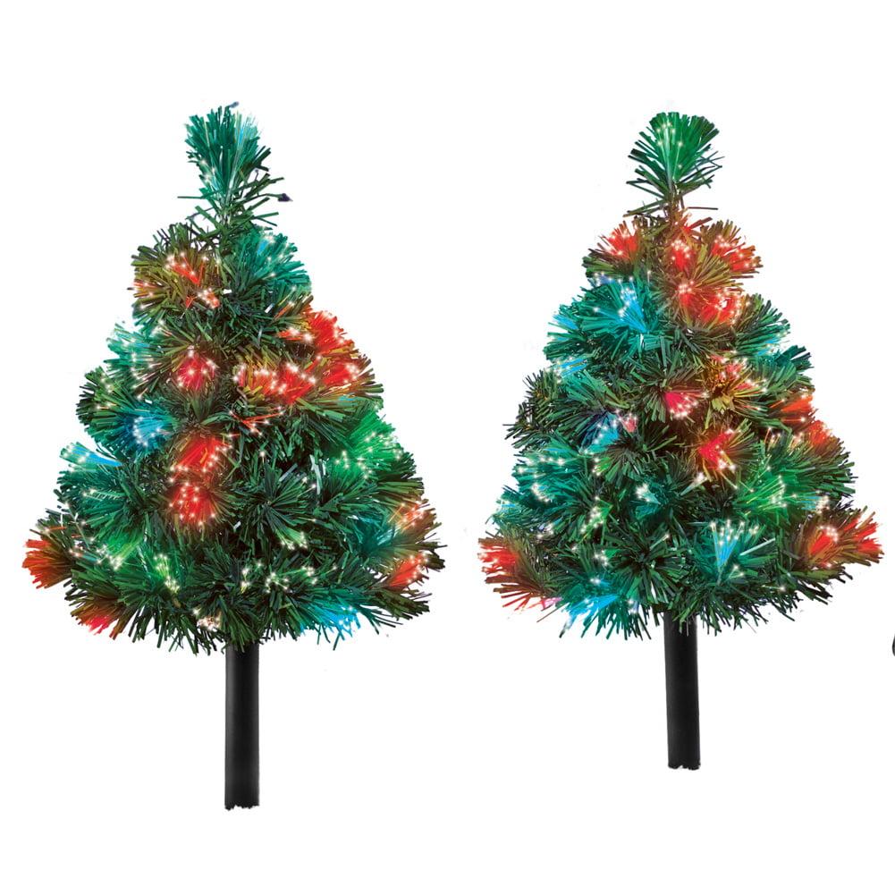 Light Up Outdoor Solar Mini Christmas Trees - Color Changing Festive Garden Decor
