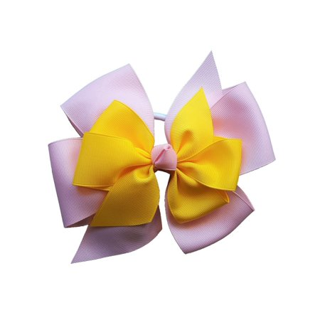 Promarx Girls Pink Yellow Four Loop Double Layered Bow Ponytail