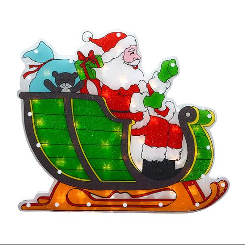 "17"" Lighted Double-Sided Shimmering Santa in Sleigh Christmas Window Silhouette"