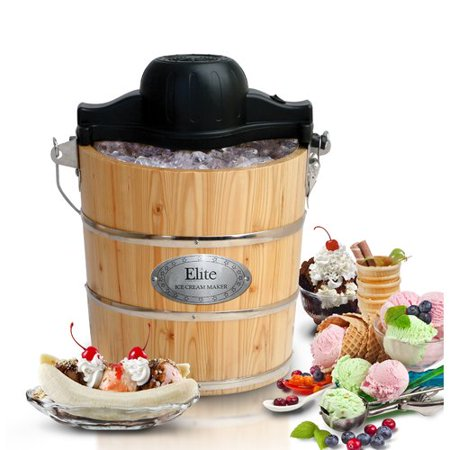 Maxi Matic Elite Gourmet 4 qt Old Fashioned Pine Bucket Electric Manual Ice Cream Maker, Wood