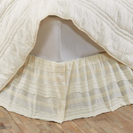 Creme White Farmhouse Bedding Jasmine Cotton Split Corners Gathered Lace Voile Solid Color King Bed Skirt