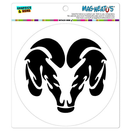 Head Car Magnet - Ram Head Black on White - Circle MAG-NEATO'S(TM) Car/Refrigerator Magnet