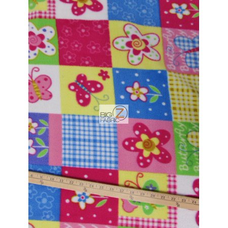 Flower Print Fabrics - Fleece Printed Fabric Flower / Quilt II / Sold By The Yard