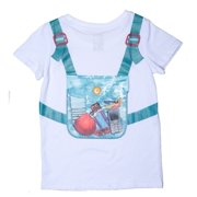 Planet Boys White Blue Camouflage Backpack Playful T-Shirt 7/8