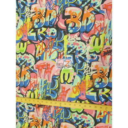 ALEXANDER HENRY 100% COTTON FABRIC COLLECTION SOLD BY THE YARD DIY CLOTHING DECOR (Tag You're It Graffiti) - Alexander Henry Halloween Fabric