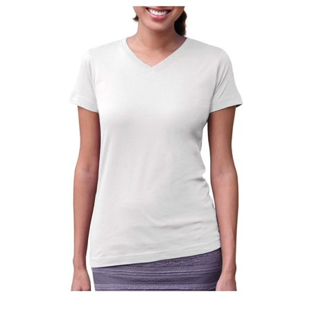 LAT Women's Designer Longer Length Ribbed V-Neck Jersey T-Shirt, Style 3507