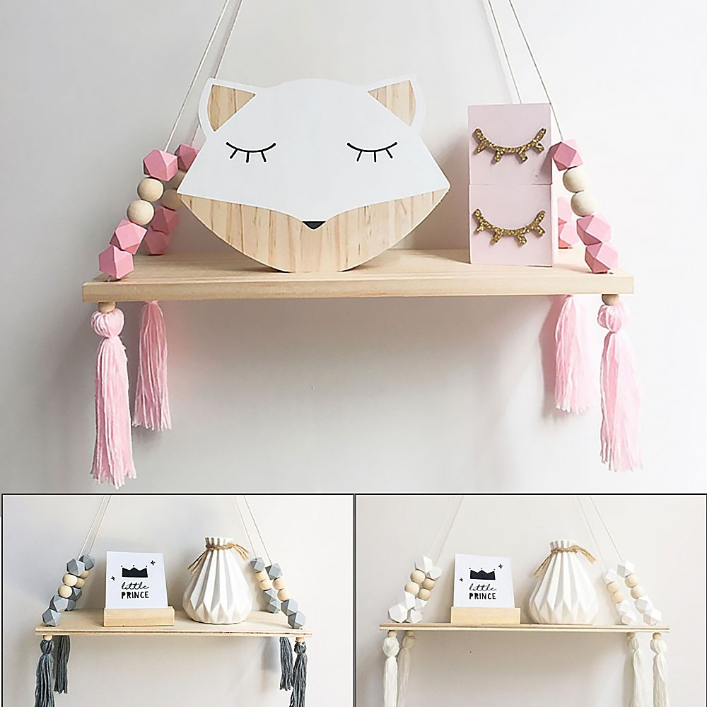 Suspended Style 32 Floating Staircase Ideas For The: Macaron Style Shelf Wall Decorative Shelf Rope Shelves