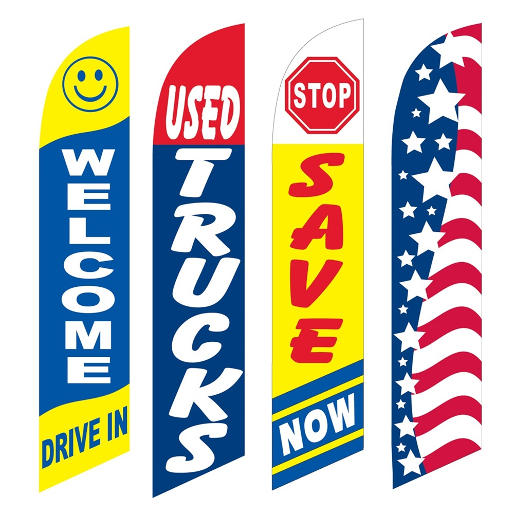 4 Advertising Swooper Flags Welcome Drive In Used Trucks Save Now Patriotic