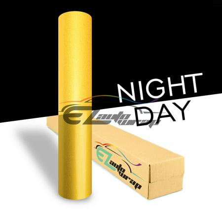 Ezautowrap Yellow Night Reflective Vinyl Wrap Sticker Decal Graphic Sign Self Adhesive Film Roll For Car Vehicle Boat Truck Trailer Rv Motorcycle Bike Road Sign Party Club Decoration