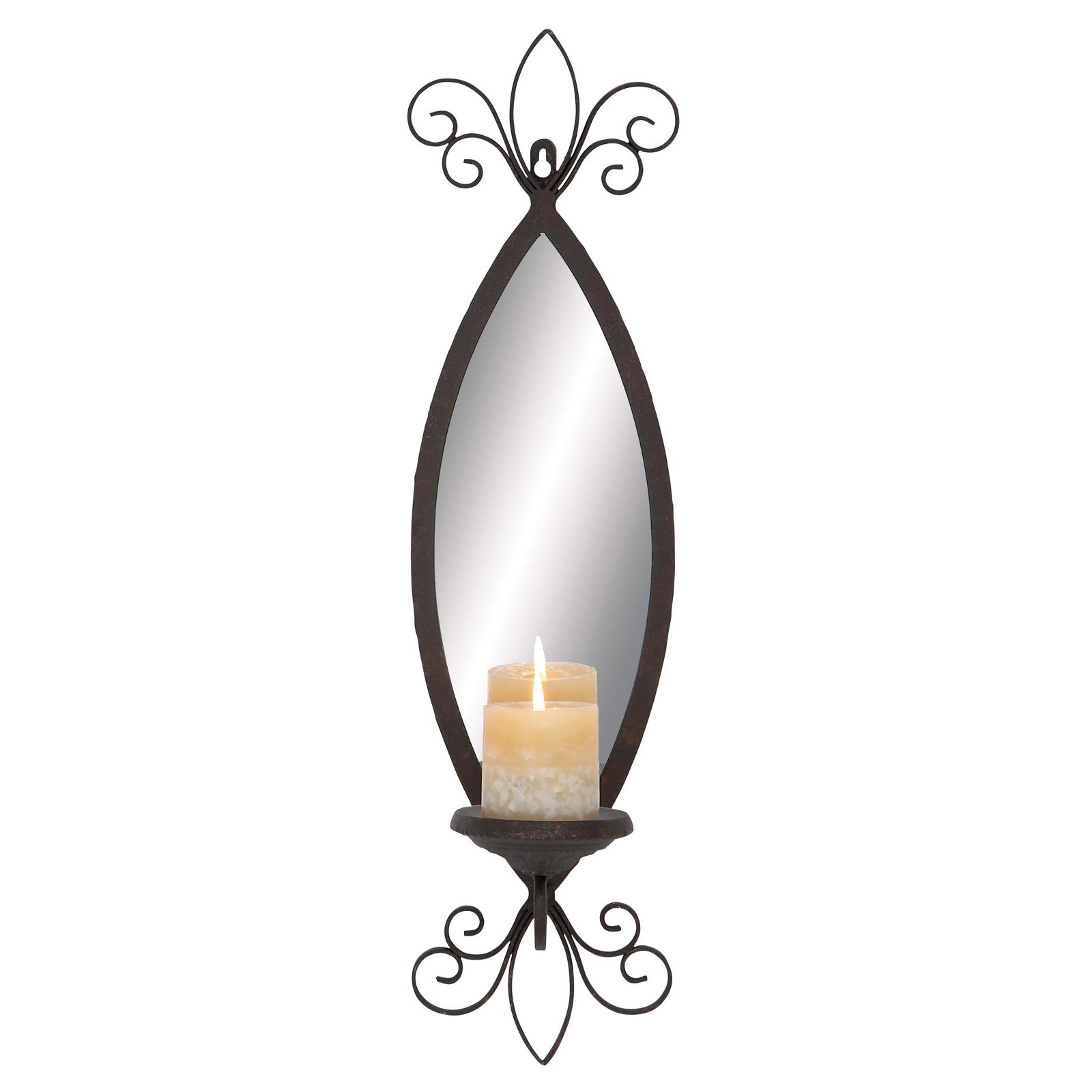 Decmode Metal Mirror Candle Sconce, Multi Color by DecMode