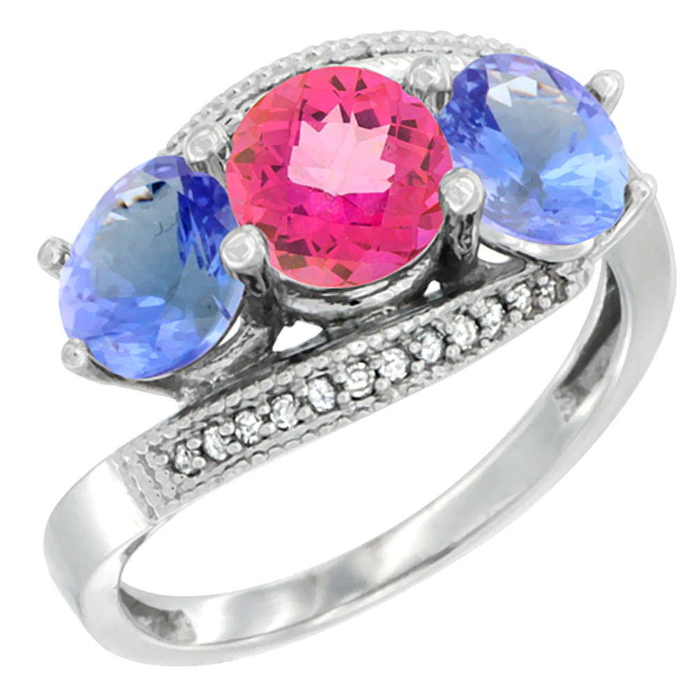 14K White Gold Natural Pink Topaz & Tanzanite Sides 3 stone Ring Round 6mm Diamond Accent, size 6 by Gabriella Gold