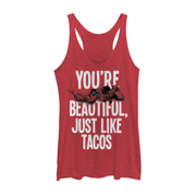 Marvel Women's Deadpool Beautiful Just like Tacos Red Heather Racerback Tank Top