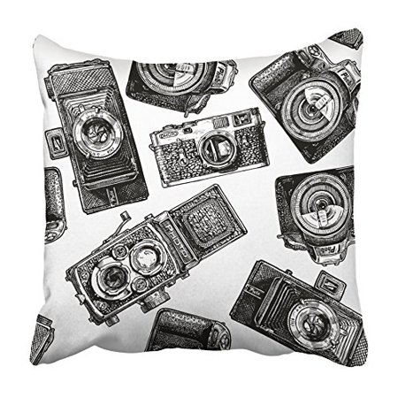 USART Black Doodle with Cameras in Vintage Engraved Style on White Drawing Drawn Film Pillowcase Cushion Cover 16x16 - Vintage Style Black And White Halloween Drawings
