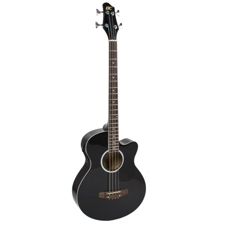 Best Choice Products 22-Fret Full Size Acoustic Electric Bass Guitar w/ 4-Band Equalizer, Adjustable Truss Rod - Black (105 Electric Bass)