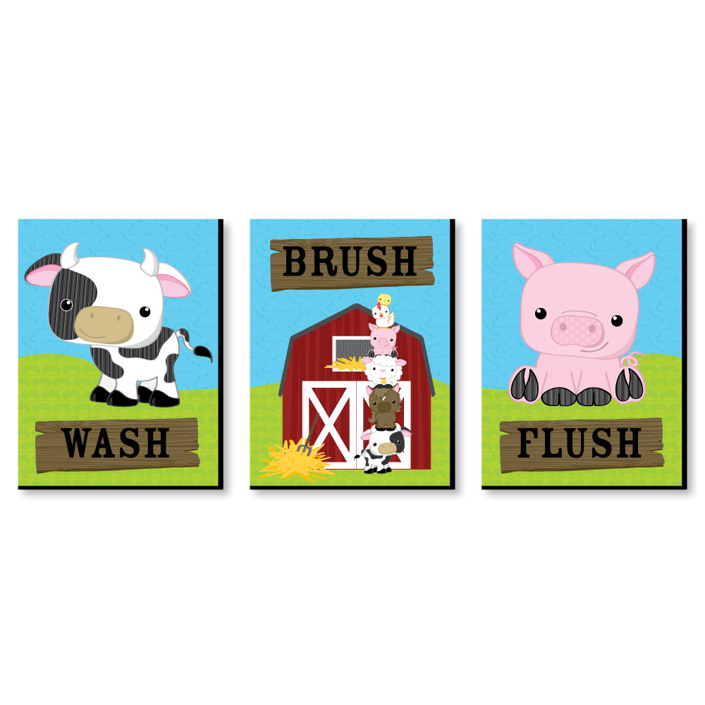 "Farm Animals - Barnyard Kids Bathroom Rules Wall Art - 7.5"" x 10"" - Set of 3 Signs - Wash, Brush, Flush"
