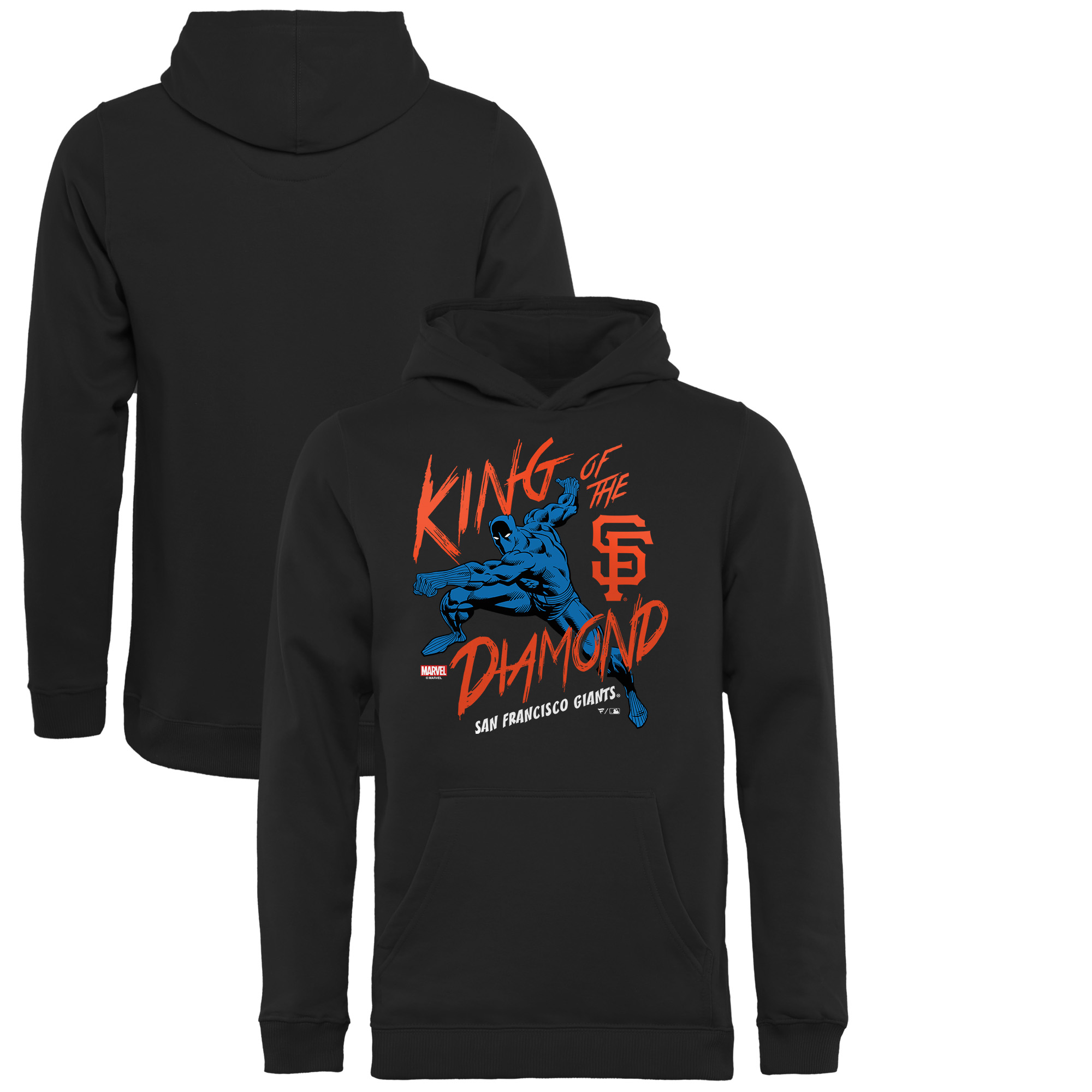 San Francisco Giants Fanatics Branded Youth MLB Marvel Black Panther King of the Diamond Pullover Hoodie - Black