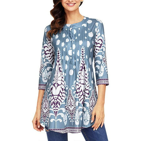 Womens Floral Tunic Tops with 3/4 Sleeves - Long Casual Floral Shirt Blouse with Round Neck – Buttons up Top (S/s Button Up Shirt)