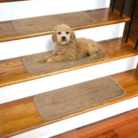 - Ottomanson Softy Stair Treads Solid Skid Resistant Rubber Backing Non Slip Carpet Stair Tread Mats, 9