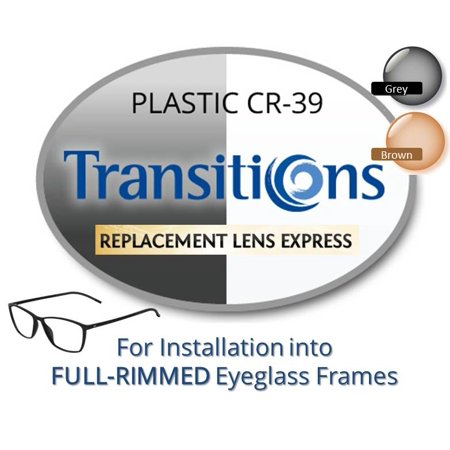 Single Vision Transitions Plastic CR39 Prescription Eyeglass Lenses, Left and Right (One Pair), for installation into your own Full-Rimmed Frames, Anti-Scratch Coating Included 1013 Eyeglasses Brown Frame