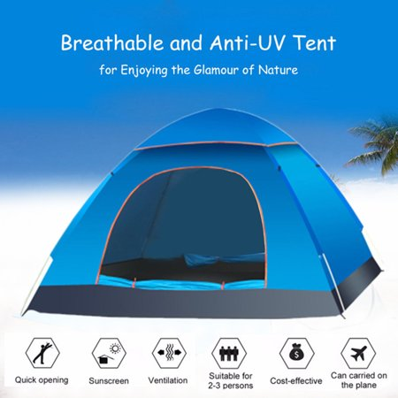 2-3 Person Automatic Camping Tent Anti-UV Sun Shade Canopy Outdoor Beach Hiking Fishing 78.74 x 59.06 x 47.24 Inches - image 1 of 7