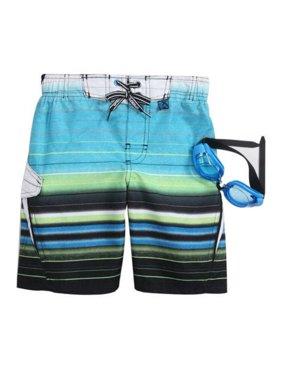 Zero Xposur Boys Blue Striped Board Shorts Swim Trunks & Goggles Set